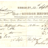 Mrs Oliphant. Kirkcaldy, 14th Sept 1843. Bought of George Hepburn, Wholesale and retail grocer. Teas, Coffees, Wines, Spirits, [...] and Ales; Feeds, Oils, etc. 1 fine Belfast Ham - 13lb @ 5d - £-/5/5. 2 bot[tles] Ale @ 4 1/2d - £-/-/9. (=) £-/6/2. 10 [bottles Ale] @ 4 1/2d - £-/3/9. 1lb tea - £-/5/-. 26th Sept - Rec pay[ment] - £-/14/11. [...] Hepburn.
