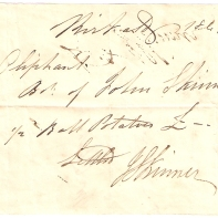 Kirkcaldy 1843, [Mrs] Oliphant, [...] of John Skinner, [Jan] 3. 1/2 [ball] Potatoes £-/4/-. [Settled] J.Skinner.