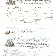Kirkcaldy. Bo't of James Steel, Woollen & Linen Draper, Silk Mercer, & Haberdasher. [...] [...]. Paid £-/2/2. 1843 Kirkcaldy. Bo't of James Steel, Woollen & Linen Draper, Silk Mercer, & Haberdasher. [...] [...]. £-/5/3. Paid, J Steel.