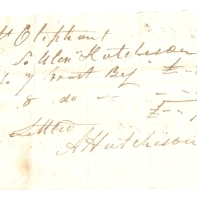 Mrs Rob. Oliphant. To Alex Hutchison. 1843. [...] [...]. (total) £-/7/6. Settled, A Hutchison