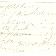 Mrs Rob Oliphant. Bo[ugh]t of Alex Hutchison. 1842, Dec 2nd [...] [...]. (total) £-/8/7 1/2. Settled, Alex Hutchison. Kirkcaldy, January 2nd 1843.