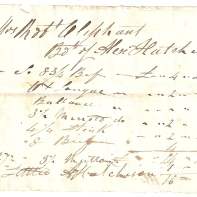 Mrs Rob Oliphant. Bo[ugh]t of Alex Hutchison. 1843. [Feb] 15th. [...] [...]. Settled, Alex Hutchison. (total) £-/16/5.