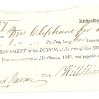 No 837, Kirkcaldy, 1st May 1843, Received from Mrs Oliphant for house [& garden] the Sum of £1/-/- Sterling, being her Assessment under the Act for the IMPROVEMENT of the BURGH, at the rate of One Shilling per Pound of Rent, for the Year commencing at Martinmas, 1842, and payable on the 25th March, 1843.