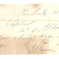 1843, Mrs Oliphant, J [Skinner], March [2], [...] £-/2/-, paid, -/2/-, July 31, J [Skinner]