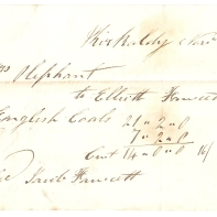 Kirkcaldy Nov 22nd 1843, Mrs Oliphant, to Elliott [Fawcett], to English Coals £21/2/0, £7/2/0, Cut £14/0/0 - 16/ 11/2, settled [Jacob] [Fawcett]