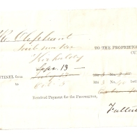 Mr R Oliphant, [sail]-maker, Kirkcaldy, Sept 13th, To the proprietor of the Fife Sentinel (newspaper), Cupar-Fife, Received payment for the Proprietor