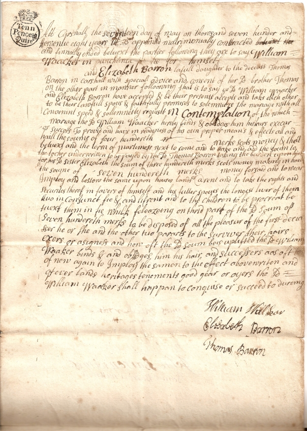 Marriage contract - William Walker & Elizabeth Barron - page 1 - 300dpi
